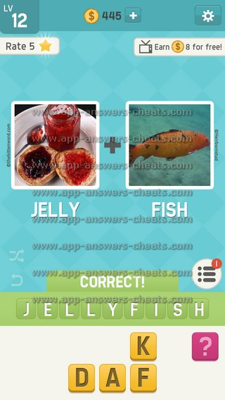 Pictoword fun 2 pics guess answers all levels app for Fish table cheat app